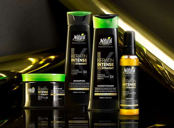 Four bottles of the Kratin Intense Series: hair mask, shampoo, conditioner and serum