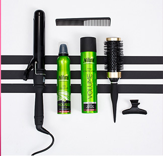 Curler, a bottle of mousse, volume spray, brush, comb and a hair clip