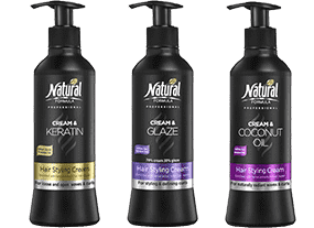 Three bottles of Hair Styling Crem Series: Keratin. Glaze and Coconut oil