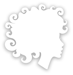 Silhouette of a woman with curly hair