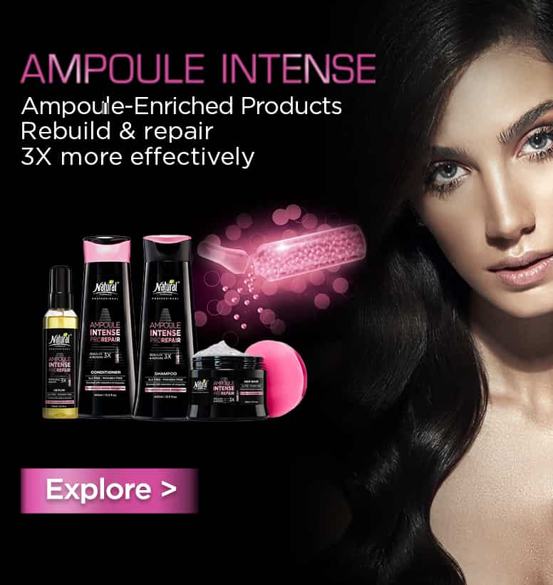 Three bottles of Ampoule Intense and a woman with black hair